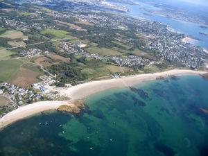 Vue aérienne saut en parachute Bretagne, Larmor plage