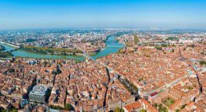 vue lors d'un saut en parachute Toulouse Occitanie